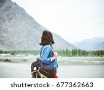 women with her backpack ready... | Shutterstock . vector #677362663