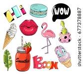 set of cute and fun summer... | Shutterstock .eps vector #677378887