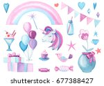watercolor clipart  flag ... | Shutterstock . vector #677388427