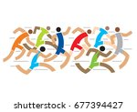 runners competition marathon.... | Shutterstock .eps vector #677394427