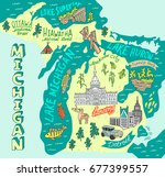 illustrated map of the state of ... | Shutterstock .eps vector #677399557