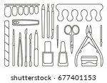 manicure tools icons   Shutterstock .eps vector #677401153