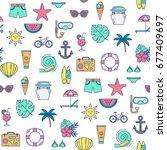 vector seamless summer pattern. ... | Shutterstock .eps vector #677409697