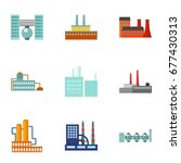 factory set icons in cartoon... | Shutterstock . vector #677430313