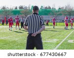 referee from behind in american ... | Shutterstock . vector #677430667