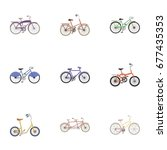 collection of bikes with... | Shutterstock . vector #677435353