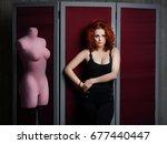 women standing next pink... | Shutterstock . vector #677440447