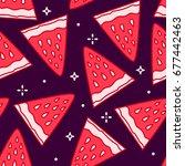 summer pattern with cartoon... | Shutterstock .eps vector #677442463
