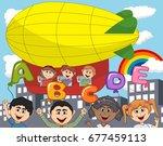children ride a zeppelin and... | Shutterstock .eps vector #677459113