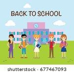 children school cartoon  back... | Shutterstock .eps vector #677467093