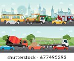 highways road with many... | Shutterstock .eps vector #677495293