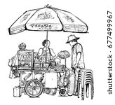 street food seller in bangkok ...   Shutterstock .eps vector #677499967