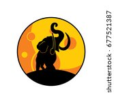 elephant at the full moon. | Shutterstock .eps vector #677521387