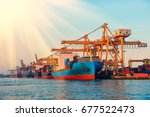 container container ship in... | Shutterstock . vector #677522473
