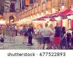 famous placa reial  royal... | Shutterstock . vector #677522893