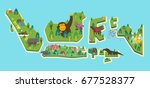 indonesia tourism map. vector...   Shutterstock .eps vector #677528377