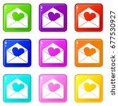 envelope with valentine heart... | Shutterstock .eps vector #677530927