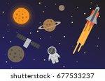 universe space flat design   Shutterstock .eps vector #677533237