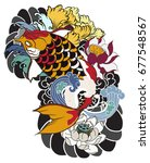 hand drawn koi fish with flower ... | Shutterstock .eps vector #677548567