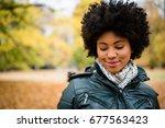 teenage girl outdoors in autumn ...   Shutterstock . vector #677563423