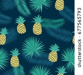 seamless pattern with tropical... | Shutterstock .eps vector #677565793