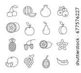set of fruit related vector...   Shutterstock .eps vector #677576227