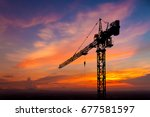 Silhouette Crane Construction...