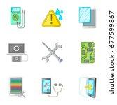 smartphone repair icons set.... | Shutterstock .eps vector #677599867