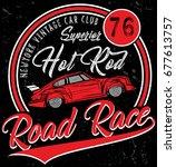 retro car. vintage car. sport... | Shutterstock .eps vector #677613757