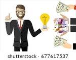 businessman gets money for the... | Shutterstock .eps vector #677617537