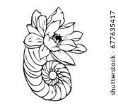 flower in the shell... | Shutterstock .eps vector #677635417