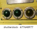 """Small photo of Ancient indicators on the steamer. Russian words """"Auto"""", """"Fun"""", """"Bow anchor"""", """"Aft anchor"""""""