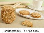 coconut cookies with hot tea... | Shutterstock . vector #677655553