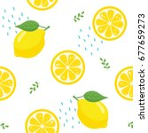 lemon seamless pattern on white ... | Shutterstock .eps vector #677659273