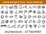 vector doodle travel and sport... | Shutterstock .eps vector #677664487