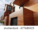 modern contemporary wood sided ... | Shutterstock . vector #677680423