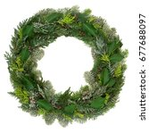 winter and christmas wreath... | Shutterstock . vector #677688097