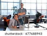 two business people using... | Shutterstock . vector #677688943