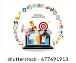 hands holding megaphone  mail ... | Shutterstock .eps vector #677691913