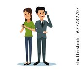white background with woman and ... | Shutterstock .eps vector #677732707