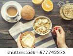bowl of homemade oatmeal... | Shutterstock . vector #677742373
