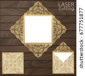 laser cut square envelope with... | Shutterstock .eps vector #677751877