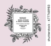 floral wedding invitation.... | Shutterstock .eps vector #677768983