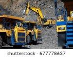 open pit coal mine. loading... | Shutterstock . vector #677778637