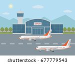 airport building and airplanes...   Shutterstock .eps vector #677779543