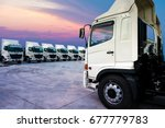 new truck fleet is parking and... | Shutterstock . vector #677779783