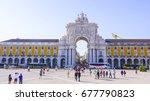 most popular square in lisbon   ...   Shutterstock . vector #677790823