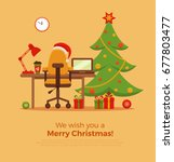 christmas workplace interior ... | Shutterstock . vector #677803477