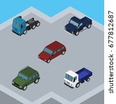 isometric car set of lorry  suv ...