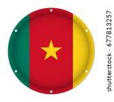 round metallic flag of cameroon ... | Shutterstock .eps vector #677813257